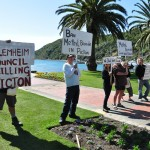 Anti Methyl Bormide protesters on the Picton Foreshore