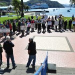 Pete Beech addresses the protesters on the Piston Foreshore